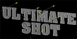 Logo of Ultimate Shot with arrows.